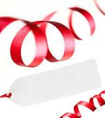 リボンおよび白で隔離され、空白の価格タグです。テンプレートのデザイン. — ストック写真