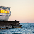 Old ship in sunset — Stock Photo