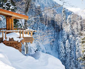 Wooden ski chalet in snow, mountain view — Stock Photo