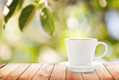 Cup of hot drink on summer background, free space for text — Stock Photo