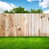 Wooden fence in a green grass — Stock Photo