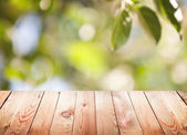 Empty wooden table with foliage bokeh background. — Stock Photo