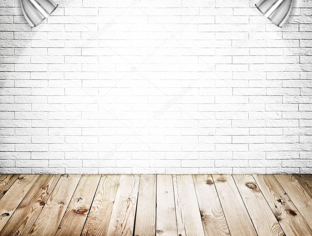 Interno camera con sfondo di pavimento legno e muro di ...
