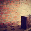 Retro brown wooden suitcase — Stock Photo