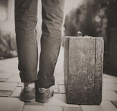 Man with old wooden suitcase, travel concept, retro tinted — Stock Photo
