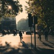 Rome in early morning. Street view. People crossing the street. — Stock Photo