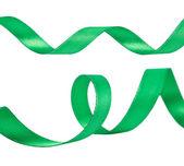 Green ribbons isolated on white — ストック写真