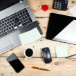 Workplace, laptop and tablet pc on wooden table — Stock Photo #36966769