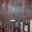 Metal workshop tools on old metal background — Stock Photo
