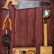 Kit of construction tools and instruments on wood texture backgr — Stock Photo