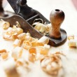 Hand jack plane and wood chips — Stock Photo #36969777