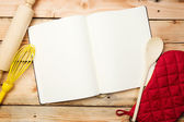 Blank recipe book on wooden table — Stock Photo
