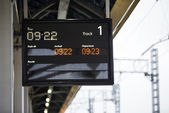 Railway platform information display — Foto de Stock