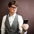 Angry man with mobile smartphone — Stock Photo #43900039