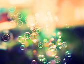 Soap bubbles, abstract background, retro tinted — Stock Photo
