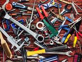 Sada různých nástrojů na dřevěné pozadí — Stock fotografie