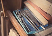 Old woodworking tools, retro tinted — Stock Photo