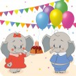 Birthdays elephant — Stock Vector