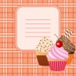 Cupcake on vintage background — 图库矢量图片