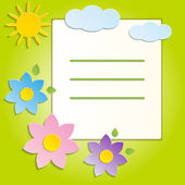 Bella primavera fiori verde sfondo - vettoriale — Vettoriale Stock