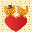 Romantic couple of two loving cats - Illustration, vector — Stock Vector #32732353