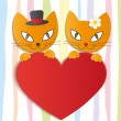 Romantic couple of two loving cats - Illustration, vector — Stock Vector