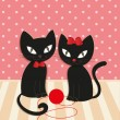 Romantic couple of two loving cats - Illustration, vector. — Stock Vector