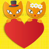 Romantic couple of two loving cats - Illustration — Stock Vector