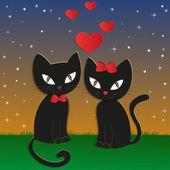 Cat's night - Illustration, vector — Stock Vector
