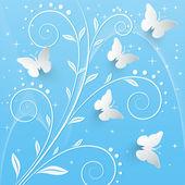 Vector background with paper butterflies. — Stock Vector