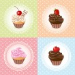 Cupcake on vintage background - vector illustration — Stock Vector
