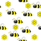 Bees seamless pattern - Illustration — Cтоковый вектор