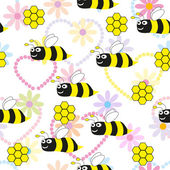 Bees seamless pattern - Illustration — Stok Vektör
