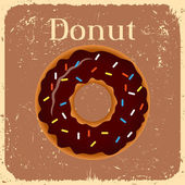 Donut on vintage background - vector illustration — Vecteur