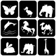 Silhouette of animals - vector illustration — Stock Vector