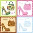 Beautiful female shoes and bags - Set seasons — Stock Vector #35448047