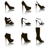Shoes silhouette collection for your design - Illustration — Stock Vector