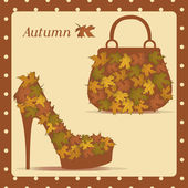 Beautiful female shoes and bags - Illustration — Stockvektor