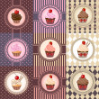 Stock Vector: Set of cupcake on vintage background - vector illustration