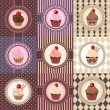 Set of cupcake on vintage background - vector illustration — Stock Vector