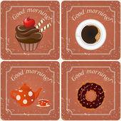 Ilustración - ilustración retro con té, cupcakes y un café — Vector de stock