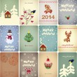 Set of vintage Christmas cards - vector illustration — Imagens vectoriais em stock