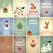 Set of vintage Christmas cards - vector illustration — Vettoriali Stock