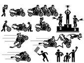 Icono hombre moto gp — Vector de stock