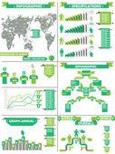 INFOGRAPHIC DEMOGRAPHIC RTERO LABBEL GREEN — Stock Vector