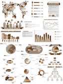 INFOGRAPHIC WEB COLLECTION BROWN — Stock Vector