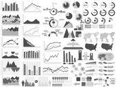 Nuovo stile web grigio demografico di elementi infografica — Vettoriale Stock