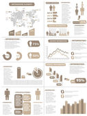 INFOGRAPHIC DEMOGRAPHICS NEW STYLE BROWN — Stok Vektör