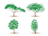 TREES ABSTRACT-COLLECTION OF FOUR — Stock Vector