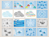 MEGA COLLECTION WEB CLOUD COMPUTING INFOGRAPHIC — Stock Vector